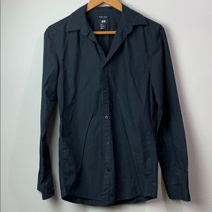 H&M Easy Iron Long Sleeves Black Button Shirt